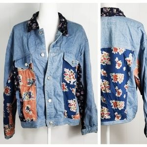 Clean Lines : Vintage Floral Inset Denim Jacket